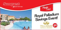 #FlashSale Save up to $400 per couple on select Palladium Hotels & Resorts vacation packages!  Limited time offer! ---> http://www.sunquest.ca/en/flash-sale  #Deals #Travel #TravelDeals #Vacation #PalladiumResorts