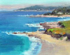 """Cheryl St. John """"Carmel Coastline"""" 8"""" x 10"""" Oil on Linen"""