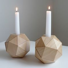 Polyhedron Candlesticks – Maple Wood Veneer Origami by Revisions