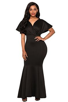 FUSENFENG Womens Sexy V Neck Mermaid Evening Gown Long Wedding Party Dress Black L ** You can find out more details at the link of the image. (This is an affiliate link) Evening Dress Long, Mermaid Evening Gown, Black Evening Dresses, Evening Gowns, Formal Dresses For Women, Fashion Dresses, Maxi Dresses, Wedding Party Dresses, Off The Shoulder