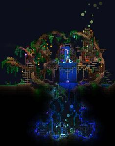 Click this image to show the full-size version. Terraria House Design, Terraria House Ideas, Terraria Tips, Minecraft Modern, Minecraft Houses, Minecraft Plans, Minecraft Projects, Minecraft Stuff, Minecraft Underground
