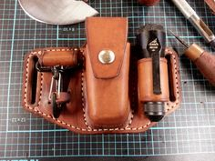 Handmade from 8 oz veg tan and finished with Neatsfoot oil Small Leather Bag, Leather Pouch, Leather Tooling, Leather Gifts, Leather Craft, Custom Leather Holsters, Vintage Cigarette Case, Leather Workshop, Leather Projects