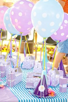 Purple and blue favors at a Mermaid Birthday Party!  See more party ideas at CatchMyParty.com!