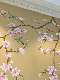 Hand Painted Wallpaper, Painting Wallpaper, Mural Wall Art, Wall Art Decor, Painted Bedroom Doors, Tree Wall Painting, Cherry Blossom Art, Chinoiserie Wallpaper, Wall Drawing