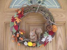 Fall Squirrel Acorn Wreath- Autumn Wreath -- Fall Wreath--Thanksgiving Wreath--14 inch Grapevine and Felt Flower Woodland Wreath. $34.00, via Etsy.