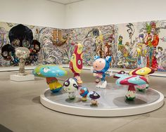 Works by Takashi Murakami on display at the Broad museum in Los Angeles, which opens on Sept. Credit Monica Almeida/The New York Times Japanese Art Modern, Modern Art, Contemporary Art, Broad Museum Los Angeles, Murakami Flower, Pop Art, The Broad Museum, Takashi Murakami, New Museum