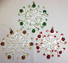 Fused Glass Snowflake Ornaments by PeaceLuvGlass on Etsy, $18.00
