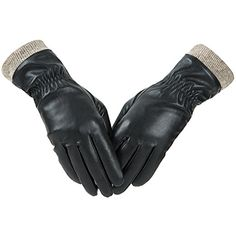 Women Touch Screen Gloves PU Leather Thermal Lined Phone Texting Warm Gloves