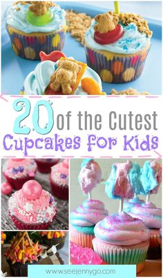 Looking for a fun baking project for kids? Need some great ideas for kids parties? Check out these amazing and fun cupcakes for kids. Fun designs and flavorful cupcakes your kids will LOVE Campfire, Cookie Monster, sun, cotton candy, caramel popcorn Kid Cupcakes, Cupcake Cakes, Childrens Cupcakes, Floral Cupcakes, Butter Cupcakes, Halloween Cupcakes, Cupcake Flavors, Baking With Kids, Savoury Cake