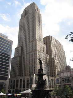 The Carew Tower in downtown Cincinnati was completed in 1931. The building is an example of French Art Deco architecture and was used as the model for the Empire State Building.