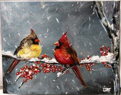"Winter Cardinal on 8"" x 10"" canvas board.  Bird painting, winter scene, red bird, cardinal bird art, wall decor, acrylic art, canvas by ThisArtToBeYours on Etsy"