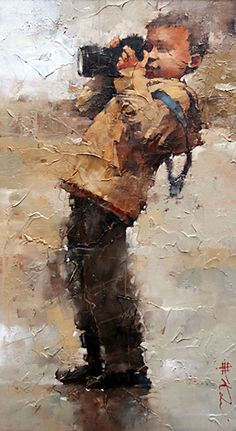 """Amateur"" - Andre Kohn, oil palette knife contemporary impressionist art male camera standing boy RUSSIE"
