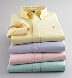 The oxford cloth button-down shirt, named for the esteemed university, originated as a sport shirt. At the turn of the last century, polo players in England would wear formal, long-sleeved shirts made of oxford cotton—a breathable and sturdy basket-weave cloth. The collars were made with buttons to prevent them from flapping during matches, starting a trend soon adapted for tennis shirts as well.