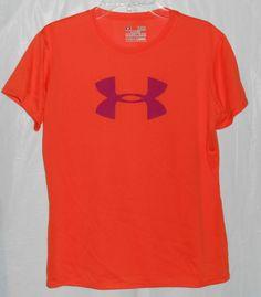 UNDER ARMOUR HEAT GEAR Sz YL Loose Fit Shirt/Top Orange w/Purple Logo S/S #UnderArmour