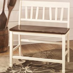 Signature Design by Ashley 'Whitesburg' White and Burnished Brown Double Barstool
