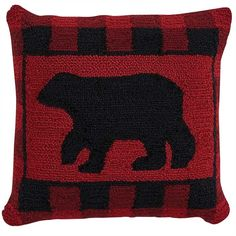 Our hooked pillows are so popular and this Buffalo Check Bear Hooked Feather Pillow measuring 18 square from Park Designs is no exception. Pair with Buffalo Che Black Bear Decor, Buffalo Check Pillows, Rustic Cabin Decor, Feather Pillows, Rug Hooking, Buffalo Plaid, Decorative Pillows, Throw Pillows, Christmas Recipes