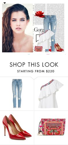 """""""Mexican Riviera"""" by seafreak83 ❤ liked on Polyvore featuring Oris, Bellezza, Frame Denim, Saloni, Salvatore Ferragamo, JADEtribe, red, denim, Heels and mexico"""