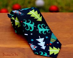 Christmas Tree Boys Necktie - Gorgeous Fun Green Christmas Trees on Navy Blue Woven Cotton, neck tie for infant baby, toddler, child, teen - http://www.howtie.com/christmas-tree-boys-necktie-gorgeous-fun-green-christmas-trees-on-navy-blue-woven-cotton-neck-tie-for-infant-baby-toddler-child-teen.html