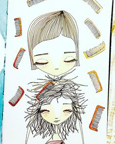 """291/366 -  October 17. Only 75 more to go. """"BATTLE"""". This is my battle EVERYDAY... Gaby, please comb your hair 😩. Combs are Gaby's worst enemy, they are her monsters. Daily Drawing. Celebrating Motherhood + Inktober. 365 Project. #illustration #ilustración #draw #drawing #dibujo #dibujar #pintar #paint #painting #sketch #boceto #ilovepaper #paper  #sketch #dailyart #dailydrawing #mom #madre #motherhood #mother #maternidad #doodling #motherdaughter #motherandchild #365project #inktober2go…"""