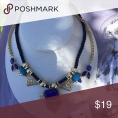 Statement Necklace & Earring Set! Statement necklace with navy accent beads with a gold base. Absolutely gorgeous!💙 Jewelry Necklaces