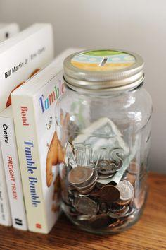 Make piggy bank with mason jar.