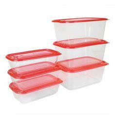 Food Storage Airtight 6 Pieces Plastic Red Boxes For Fridge (Microwave Safe) – HOKIPO  #kitchenstorage #containers Kitchen Storage Containers, Large Containers, Storage Sets, Food Storage Containers, Tiffin Box, Kitchen Sets, Preserving Food, Microwave, Plastic