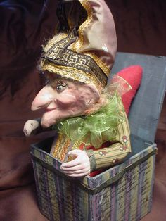 he's so homely he's cute. Punch And Judy, Jack In The Box, Puppets, Art Dolls, Captain Hat, Boxes, Santa, Cute, Ideas