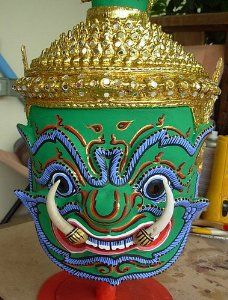 Thai Todsakhan Demon Mask Khone Dance Headdress Ramayana Crown Dancer