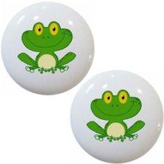 Smiling Frog Ceramic Cabinet Drawer Pull Knobs