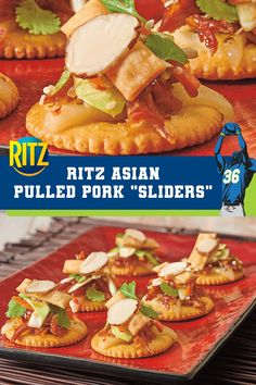 Fall Appetizers, Quick And Easy Appetizers, Appetizer Recipes, Ritz Cracker Recipes, Pulled Pork Sliders, Asian Pork, Football Snacks, Greens Recipe, Big Game