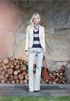 cream blazer, striped long-sleeve knit, tailored cotton pants, bright flats