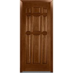 Milliken Millwork 36 in. x 80 in. 9-Panel Finished Oak Fiberglass Severe Weather Prehung Front Door,