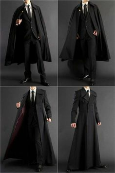 Long coat + formal robe for all your suiting and wizarding needs. Long coat + formal robe for all your suiting and wizarding needs.,Clothes reference Long coat + formal robe for all your suiting. Mode Outfits, Fashion Outfits, Fashion Trends, Fashion Clothes, Trendy Fashion, Style Fashion, Fashion Coat, Dress Clothes For Men, Gothic Fashion Men