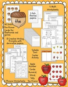 Fall Literacy and Math Activities for Kindergarten and First Grade $TPT