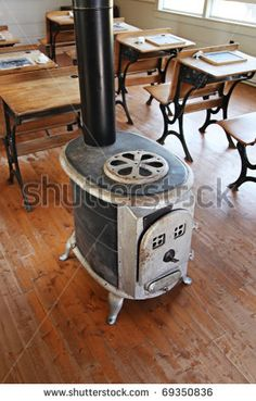 .wood stove in a school classroom