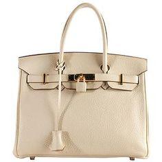 Hermes Parchemin Clemence Birkin 30cm Satchel Bag. Cream color.