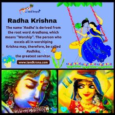 """The name 'Radha' is derived from the root word Aradhana, which means ''Worship"""". The person who excels all in worshiping Krishna may, therefore, be called Radhika, the greatest servitor. #Krishna #Krsna #RadhaKrishna"""