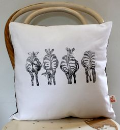 Zebra bottoms Hand block printed scatter cushion by KerryCherry, $30.00
