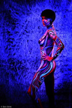 Nadyia - 2012  Body Paint ~ Michele Dyer Photography ~ Ben Britt  Black-light body paint with photography.