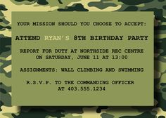 Army Paintball party invite