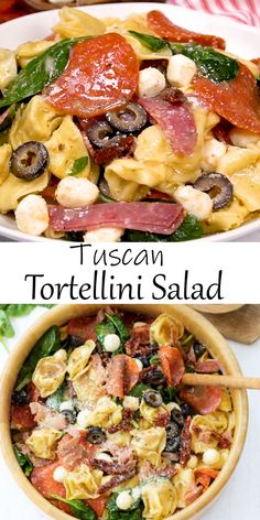 Salad Recipes 63965257196488731 - This Tuscan Tortellini Salad Recipe is so easy to make and customize with your favorite Italian ingredients! It's easy to make ahead and can be served cold or warm! Easy Summer Meals, Summer Salads, Summer Picnic Recipes, Summertime Salads, Easy Salads, Healthy Salad Recipes, Salads With Meat, Winter Salad Recipes, Make Ahead Salads