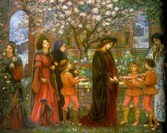 """The Enchanted Garden of Messer Ansaldo"", 1889, by Marie Spartali Stillman (English, 1844-1927). The subject is from Boccaccio's 'Decameron', which tells the story of Messer Ansaldo's love for Madonna Dianora, the virtuous wife of another man. With the aid of sorcery, he makes the garden blossom in mid-winter in order to win her (she pledges that if he can do this she will be his).  The scene shows him at his moment of triumph, but she seems less than delighted."