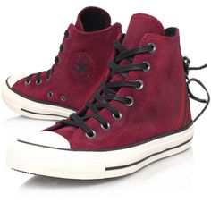 Converse Burgundy Suede Tri Zip Chuck Taylor Hi-Top Trainers ($70) ❤ liked on Polyvore featuring shoes, sneakers, converse, sapatos, burgundy sneakers, suede sneakers, converse trainers, lace up high top sneakers and lace up sneakers