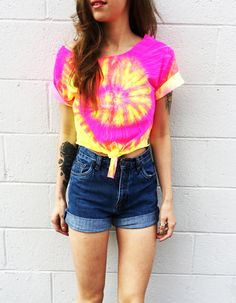 Tied starburst colored crop top available in longer t-shirt version as well. Crop top is 8 long measured from armpit.  T-shirt version hits at or