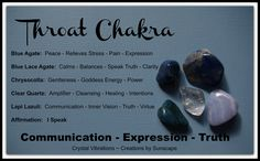 """""""Throat Chakra"""" Working with your Communication Energy Center is so easy when you use Chakra Stones to help you balance your Throat Chakra. Get yours at Crystal Vibrations ~ Creations by Sunscape here on https://www.etsy.com/listing/179858121/"""