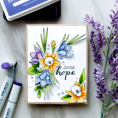 Simon Says Stamp | Where Flowers Bloom - So Does Hope. New Beginnings Release from Simon Says Stamp. Create beautiful Spring Flowers using More Spring Flowers and Friendship Blooms stamp sets.