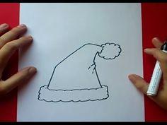 Como dibujar un gorro de papa noel paso a paso 2   How to draw a santa c...