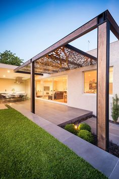 decoration: Fabulous Frontage Modern Home With Wide Lawn Grass Near Best Grey Tile Floor And Unique Brown Wood Ceiling For Patio Lighting Ideas Design - Make the Great Patio Lighting Ideas, Homestoreky.com - Best Interior Design and Decorating Ideas