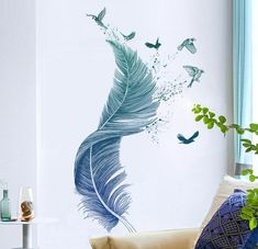 Wall Painting Decor, Art Decor, Decoration, Wall Painting Patterns, Feather Drawing, Feather Wall Art, Mural Art, Wall Murals, Wall Decal