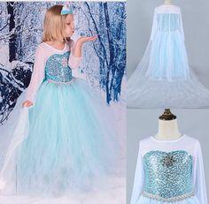 Kinder Frozen Eiskönigin Elsa Kostüm Mädchen Cosplay Kleid Fancy Kleid   in Kleidung & Accessoires, Kindermode, Schuhe & Access., Mode für Mädchen | eBay